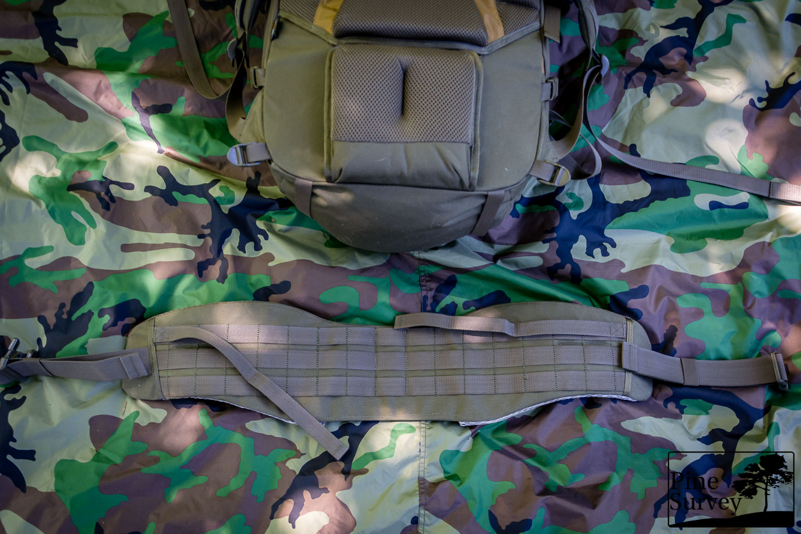 The MOLLE area on the belt