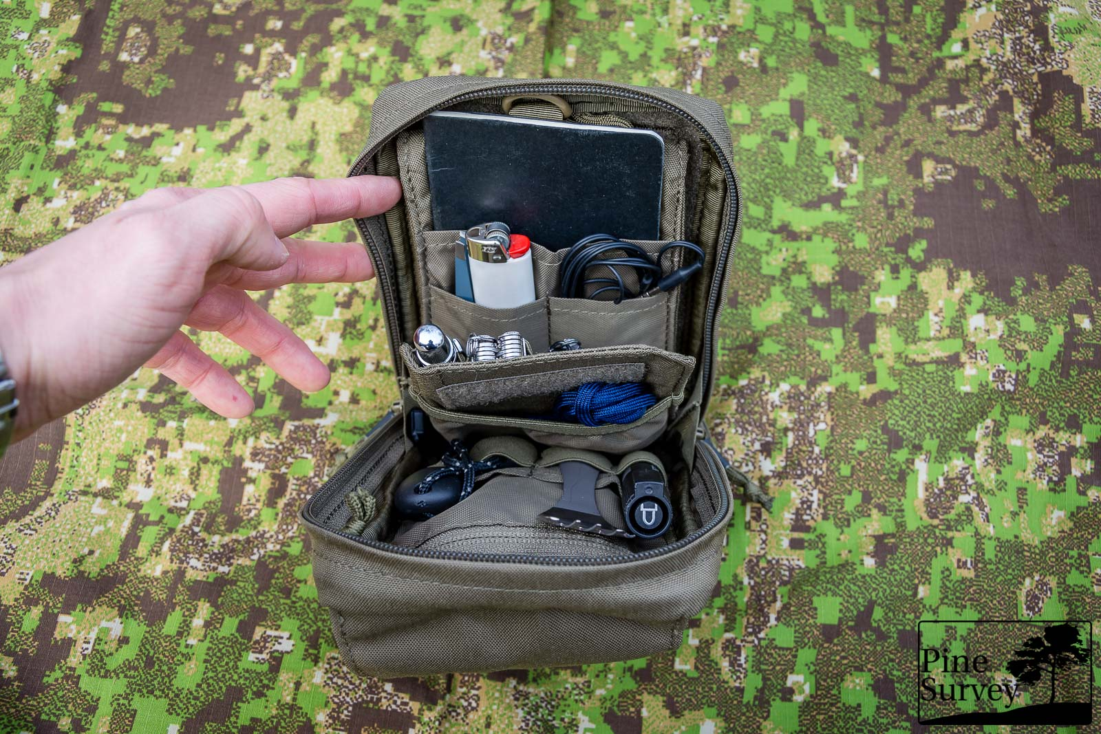 fully loaded pouch with the insert functioning as a divider